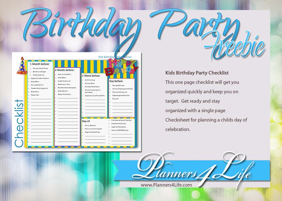 children birthday party planner checklist for kids