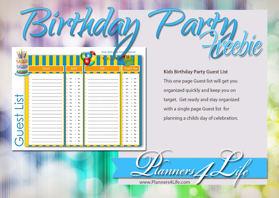 Birthday Party Planner Guest List For Kids  Party Guest List