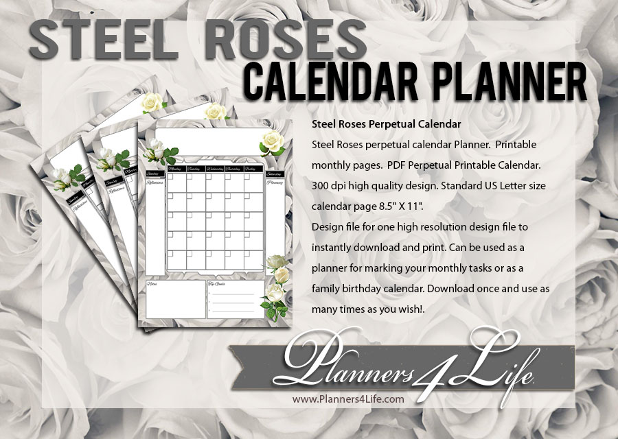 Freebies Steel Roses Perpetual Monthly Calendar