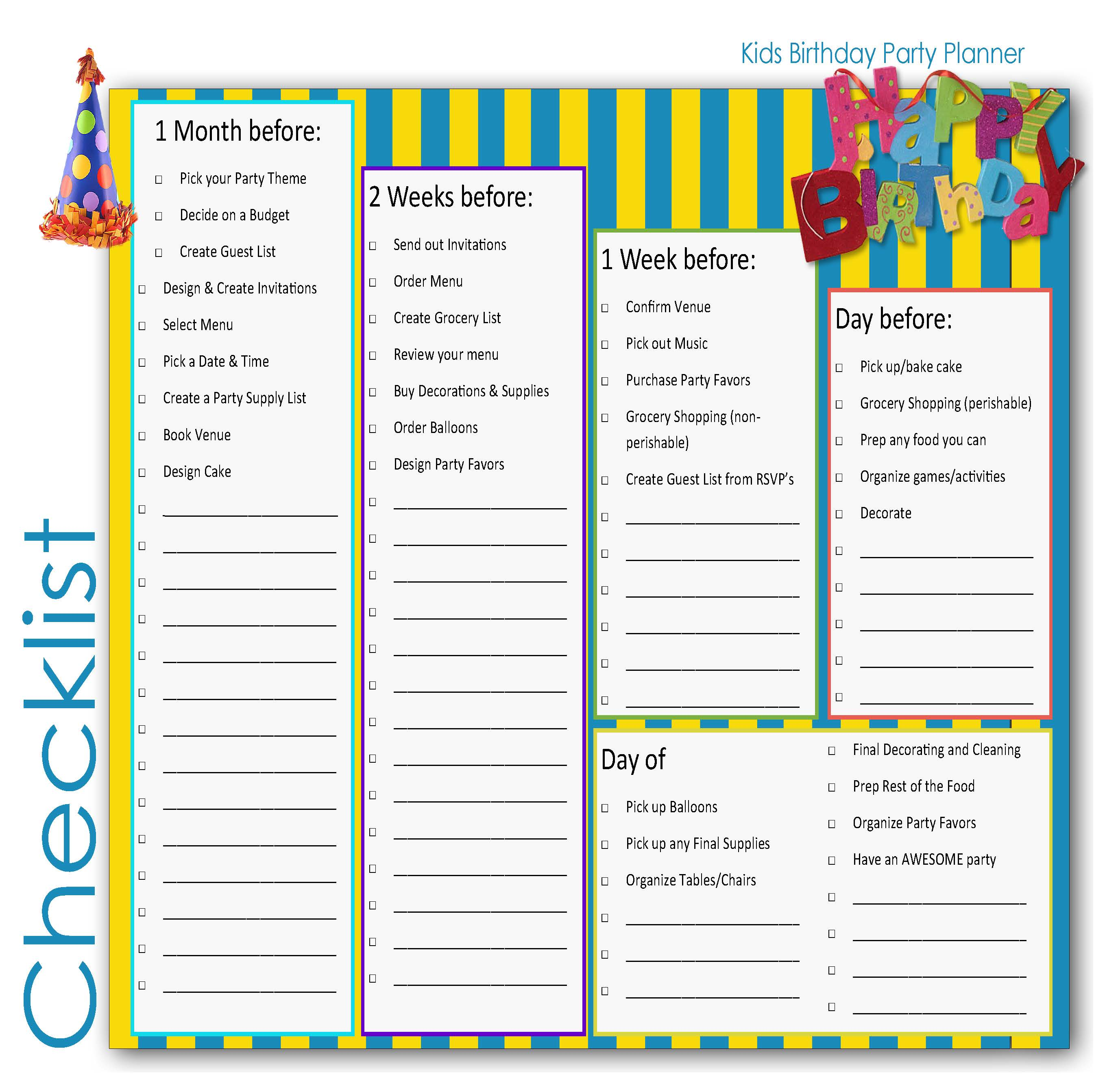 Birthday Party Planner Checklist For Kids