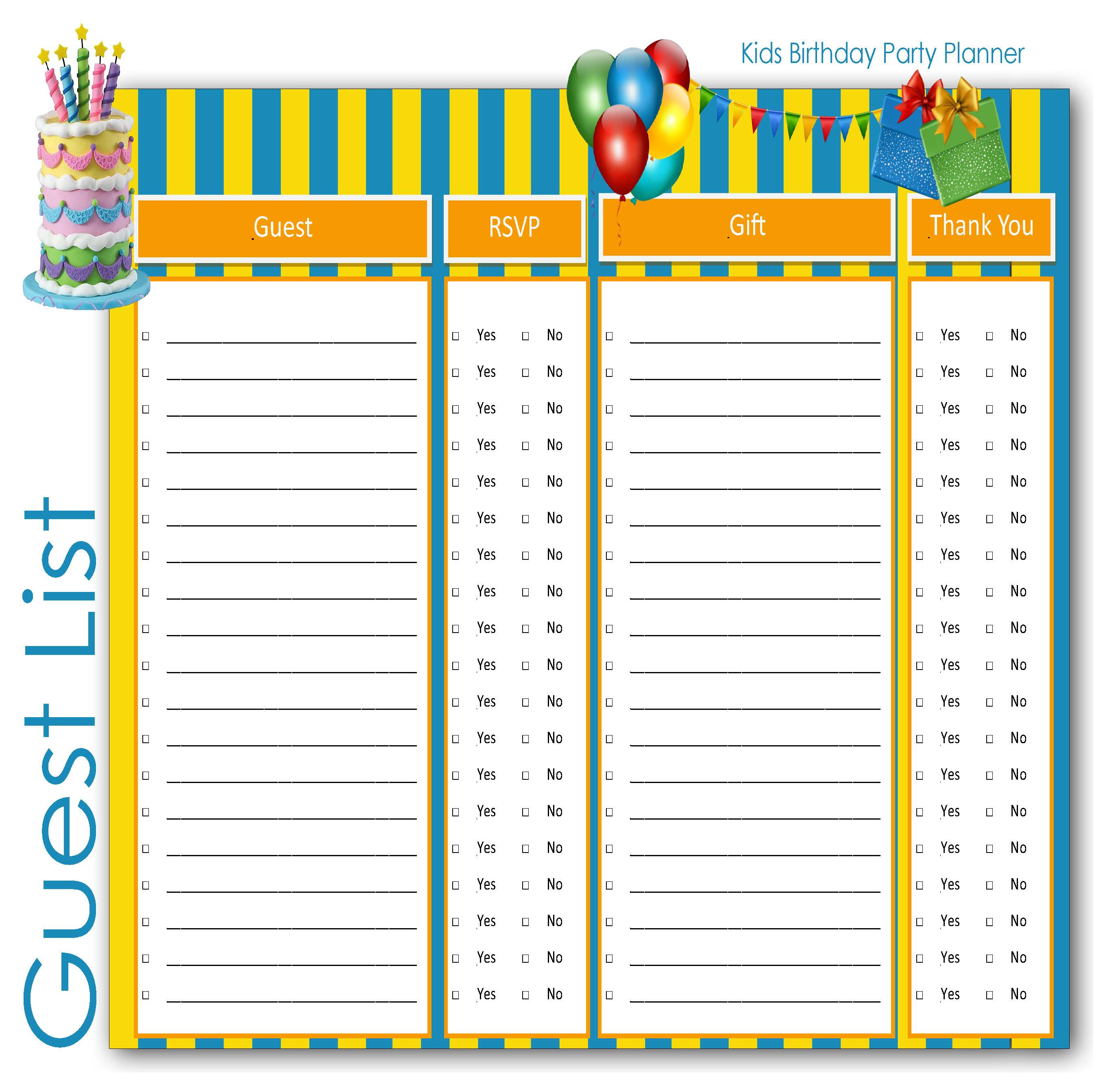 Children : Birthday Party Planner Guest List for Kids